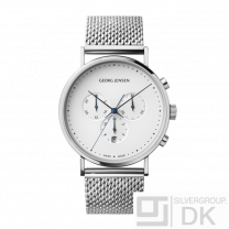 Georg Jensen Chronograph K317 41mm- White Dial and Steel Bracelet- Henning Koppel.