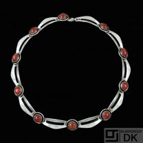 N.E. From - Denmark. Sterling Silver Necklace with Amber. 1960s.