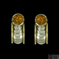 Georg Jensen. 18k White & Yellow Gold Ear Clips with Munsteiner Citrine - On Track