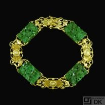 Laurits Berth - Copenhagen. 14k Gold Bracelet with Jade.