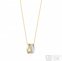 Georg Jensen. 18K Gold FUSION Pendant #1638 - with Pavé Set Diamonds. 0,22ct.