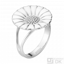 Georg Jensen. Sterling Silver Ring with White Enamel - DAISY - 18mm.