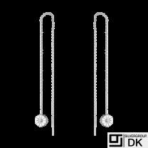 Georg Jensen. DAISY Threader Earrings. Rhodium-plated Silver / white Enamel 7mm.