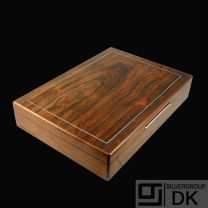 Robert Dalgas Lassen. Large Rio Rosewood Box with Inlaid Sterling Silver  - 1960s