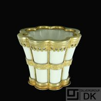 Royal Copenhagen. Margrethe Cup. Porcelain and Gilded Sterling Silver Mounting.