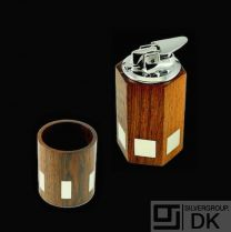 Hans Hansen. Rio Rosewood Lighter and Cigarette Holder with Inlaid Sterling Silver - 1960s