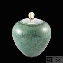 Saxbo - Evald Nielsen. Large Stoneware Jar with Sterling Silver Lid