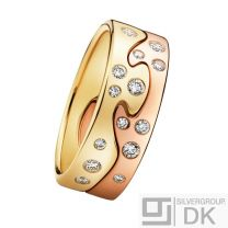 Georg Jensen. Fusion 2-piece Ring - 18k. Yellow & Rose Gold with Diamonds.