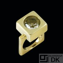 Boy Johansen. 14k Gold Ring with faceted Rock Crystal - 1960s.
