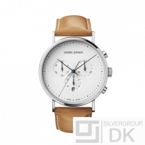 Georg Jensen Chronograph K317 41mm- White Dial and tan Leather Strap - Koppel.