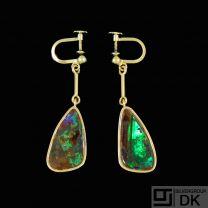 Boy Johansen. 14k Gold Earrings with Opal. Denmark 1960s.