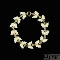 Volmer Bahner. Gilded Silver 'Butterfly' Bracelet with white enamel.