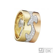 Georg Jensen. Fusion 3-piece Ring - 18k. Yellow, Rose & White Gold with Pavé Diamonds.