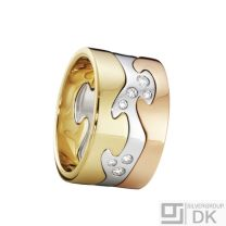 Georg Jensen. Fusion 3-piece Ring - 18k. Yellow, Rose & White Gold with Diamonds.