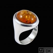 W. & S. Sørensen - Denmark. Sterling Silver Ring with Amber.
