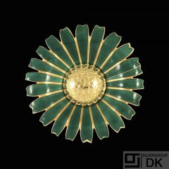 A. Michelsen. Gilded Silver Daisy Brooch / Pendant with Green Enamel. 50mm