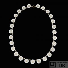 A. Michelsen. Gilded Silver Daisy Necklace with White Enamel. 11mm.
