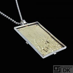 Bent Exner. Fire-gilded Sterling Silver Pendant Necklace.