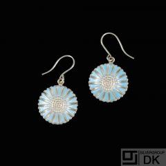 Bernhard Hertz. Silver Daisy Ear Hooks with blue enamel. 18mm