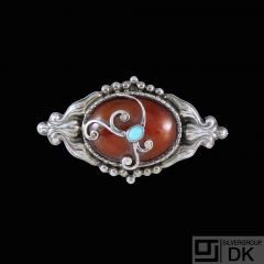 C.F. Andreasen - Copenhagen. Art Nouveau Silver Brooch with Amber & Turquoise.