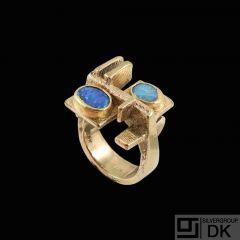 Boy Johansen. Danish 14k Gold Ring with Opals.