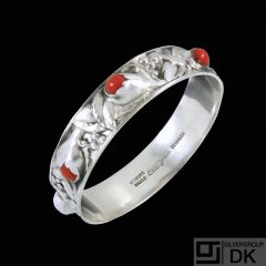 Evald Nielsen 1879 - 1958. Sterling Silver Bangle with Corals.