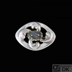 Georg Jensen. 826s Silver Brooch #11 with Labradorite. 1908-14 Hallmarks.