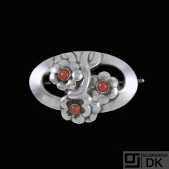 Georg Jensen. Silver Brooch with Coral #28.
