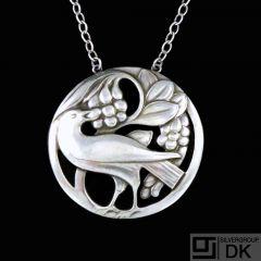 Georg Jensen. Sterling Silver Bird Pendant / Necklace #53.