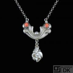 H.P. Kreiberg. Art Nouveau Silver Pendant with Corals.