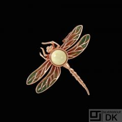 House of Amber - CPH. Dragonfly Brooch with Amber.