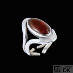 N.E. From. Sterling Silver Ring with Amber. Denmark - 1960s.