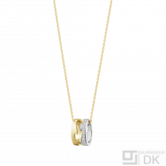 Georg Jensen. 18K Gold FUSION Pendant #1638 - with Pavé Set Diamonds. 0,22ct.