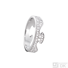 Georg Jensen Fusion End Ring #1370 - 18 kt. White Gold with Pavé Diamonds.
