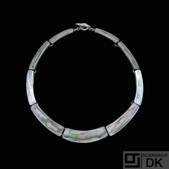 Palle Bisgaard - Denmark. Sterling Silver Necklace with Abelone #1. 1960s
