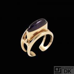 Sv. Kjeldal- Denmark. 14k Gold Ring with Amethyst.