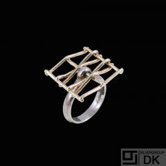 Toftegaard - Denmark. 14k Gold and Sterling Silver 'Space' Ring.